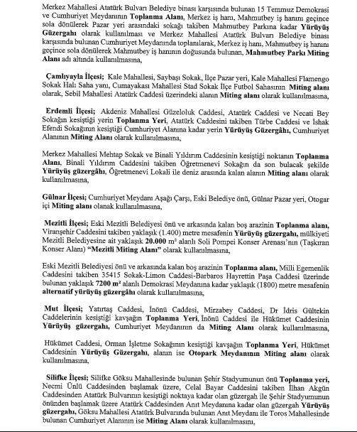 Mersin Valiliği 2020 Toplantı ve Gösteri Yürüyüşleri Yer Ve Güzergahlarını Açıkladı