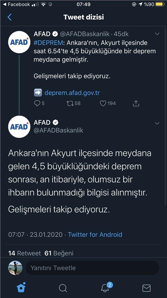 Ankara'nın Akyurt İlçesinde Büyüklüğü 3.8 ve 4.5 Olmak Üzere İki Deprem Meydana Geldi