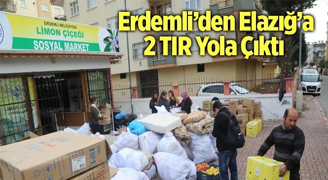 Erdemli'den Deprem Bölgesine 2 Tır Yardım Malzemesi