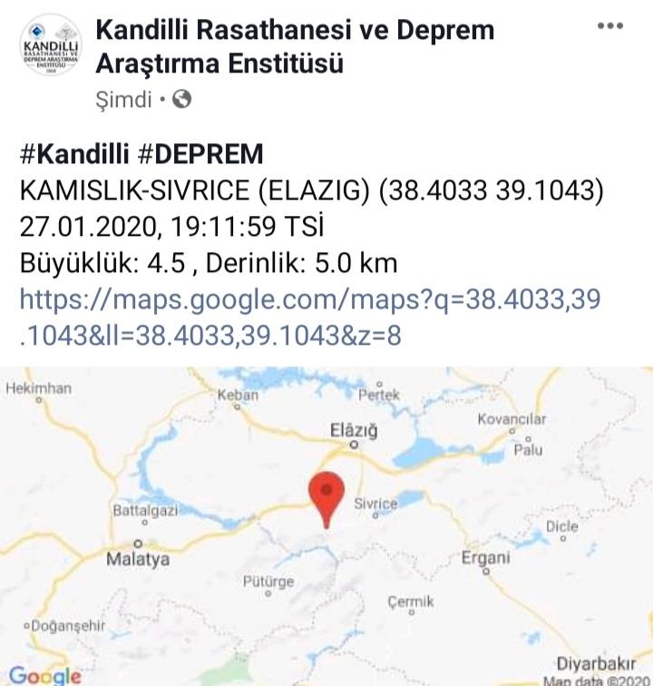 Elazığ'da Bir Deprem Daha!
