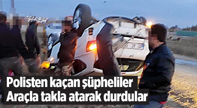 Mersin Tarsus'ta Polisten Kaçan Şüphelilerin Aracı Takla Attı