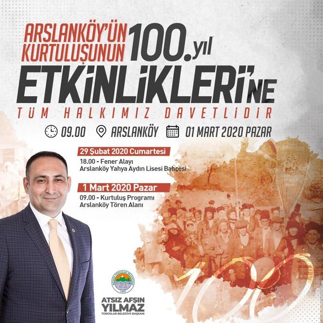Arslanköy'ün Kurtuluşu'nun 100. Yılı Coşkuyla Kutlanacak