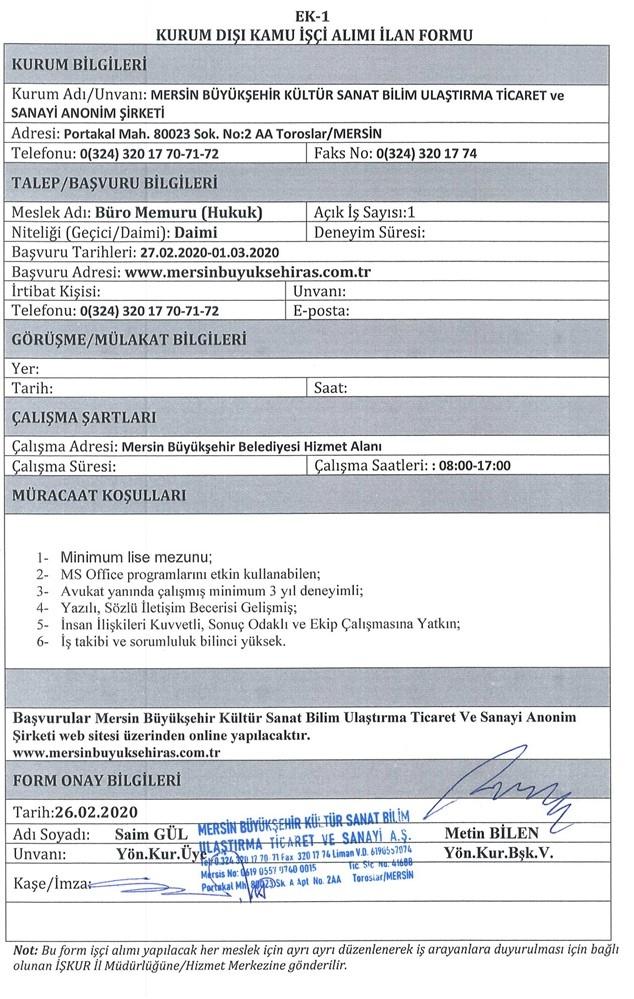 Mersin Büyükşehir Kültür AŞ. İnsan Kaynakları Uzmanı ve Büro Memuru (Hukuk) Alıyor