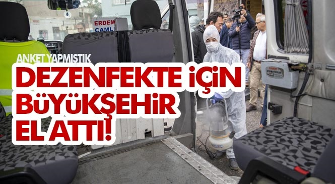 Mersin'de Şehir İçi ve İlçeler Arası Yolcu Taşımada Çalışan Dolmuş, Minibüs ve Taksiler de, Mersin Büyükşehir Belediyesi Öncülüğünde Virüse Karşı Dezenfekte Ediliyor