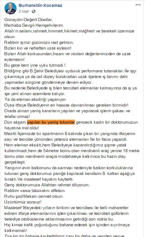 Önceki Dönem Mersin Büyükşehir Belediye Başkanı Burhanettin Kocamaz'dan Önemli Mesajların Yer Aldığı Sosyal Medya Paylaşımı