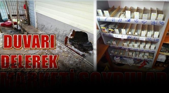 Mersin Anamur İskele Mahallesindeki Marketten Hırsızlık! Hırsızlar Duvarı Delip Marketi Soydu