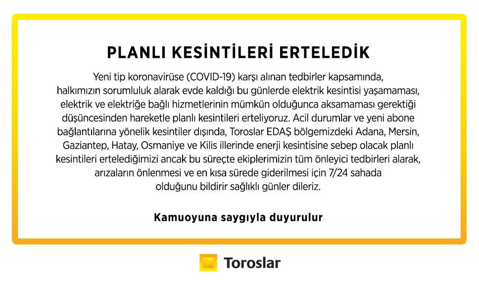 Toroslar Elektrik Dağıtım A.Ş, İçinde Mersin ve Adana'nın da
