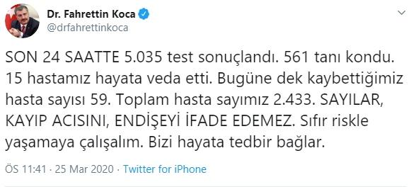 Dr. Fahrettin Koca, Şuana Kadar Türkiye'deki Vaka Sayısını 2