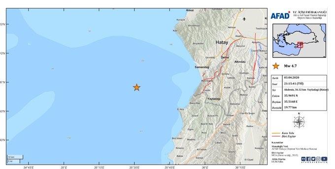 Merkez Üssü Akdeniz olan 4.8 Büyüklüğünde Deprem Meydana Gel