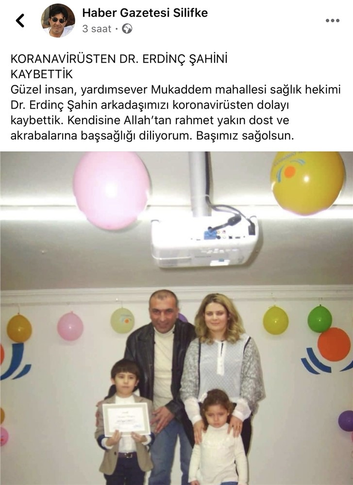 Mersin Silifkeli Aile Hekimi Doktor Erdinç Şahin Covid-19 (K