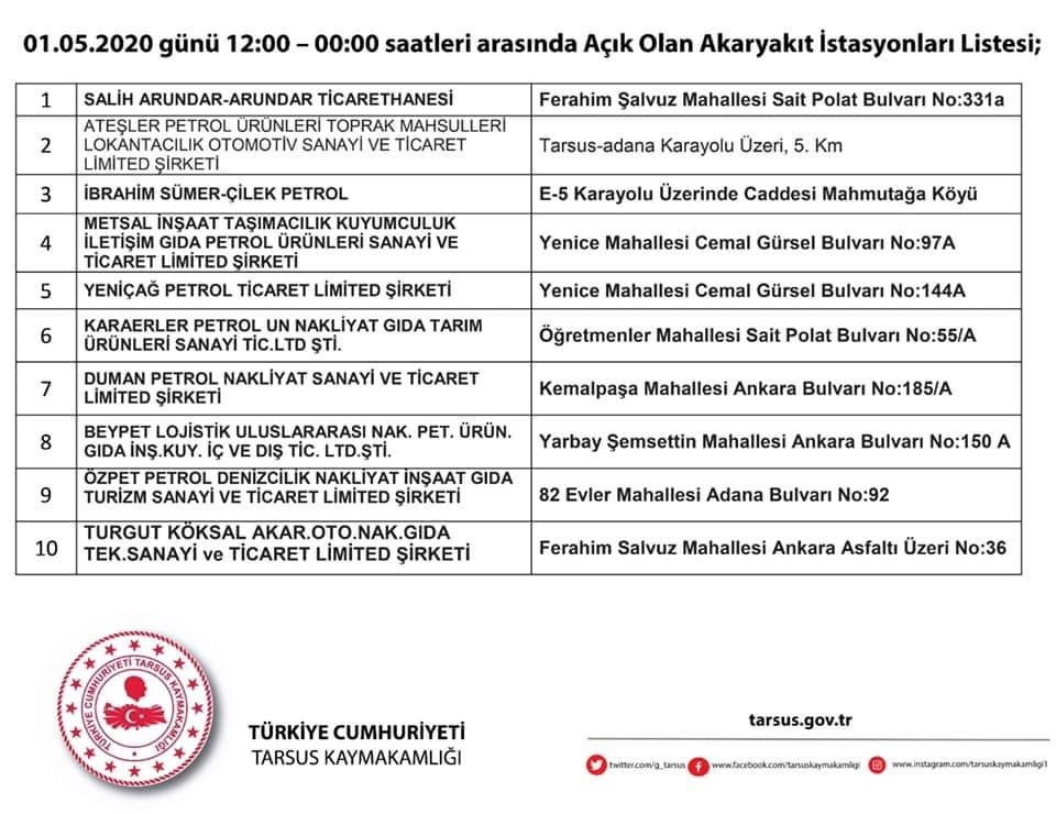 Tarsus'ta 3 Günlük Yasak Süresince Açık Olacak Akaryakıt İstasyonları ve Oto Lastik Tamircileri