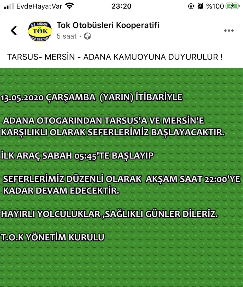 Mersin - Adana Arası Seyahat Yapacak Olanlar! TOK Otobüsleri Mersin Tarsus Adana Seferlerine Başlıyor
