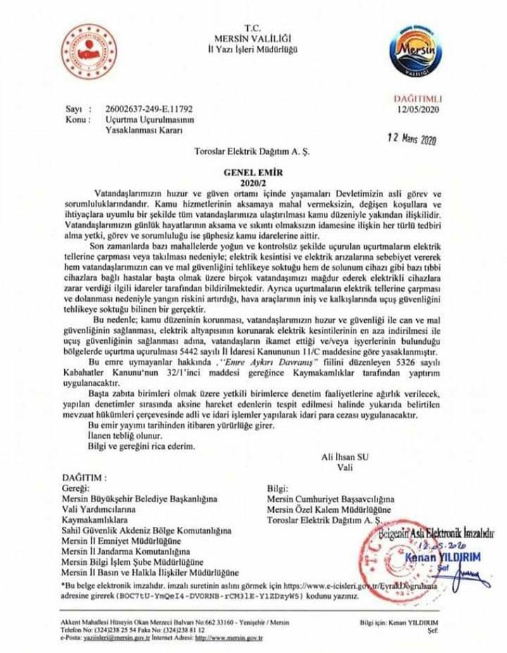 Alınan Kararla Mersin'de Uçurtma Uçurulması Yasaklandı