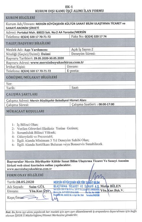 Mersin Büyükşehir Belediyesi Kültür A.Ş Çok Sayıda Personel Alımı Yapıyor