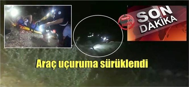 Gece Yarısı Kaza! Mersin Tarsus'ta Otomobil Uçuruma Sürüklendi: 3 Yaralı