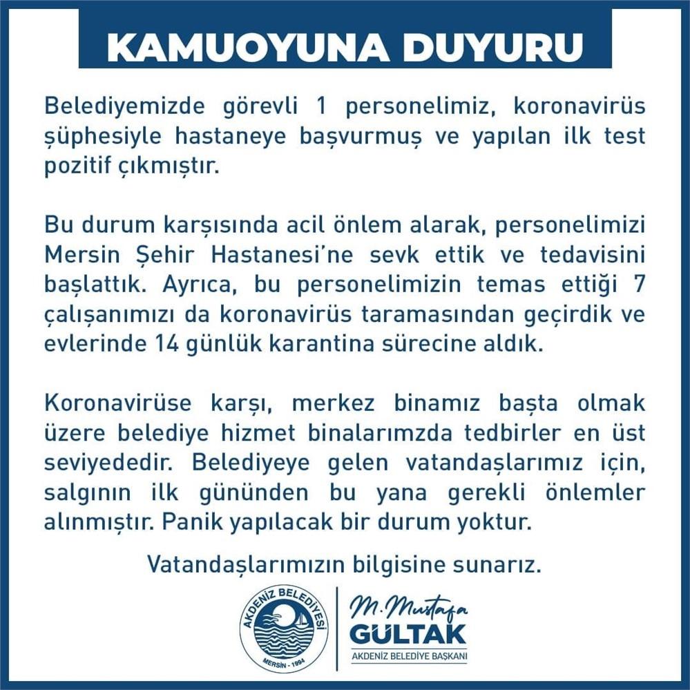 Koronavirüs Açıklaması! Akdeniz Belediye Başkanı Mustafa Gültak: ''1 Personelimizin İlk Testi Pozitif Çıktı, 7 Personel Evde Karantinaya Alındı''