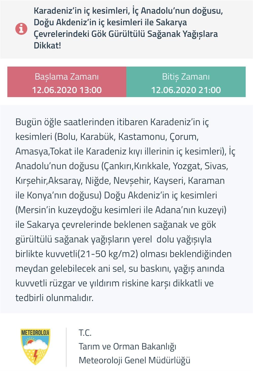 Karadeniz'in İç Kesimleri, İç Anadolu'nun Doğusu, Doğu Akdeniz'in İç Kesimleri İle Sakarya Çevrelerindeki Gök Gürültülü Sağanak Yağışlara Dikkat!