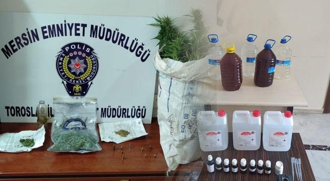 Uyuşturucu Madde ve Sahte İçki İle Mücadele Devam Ederken, Yapılan Çalışmalarda 9 Yıl 4 Ay 15 Gün İle Aranan Şahıs Mersin'de Yakalandı! Toroslar'da Asayiş