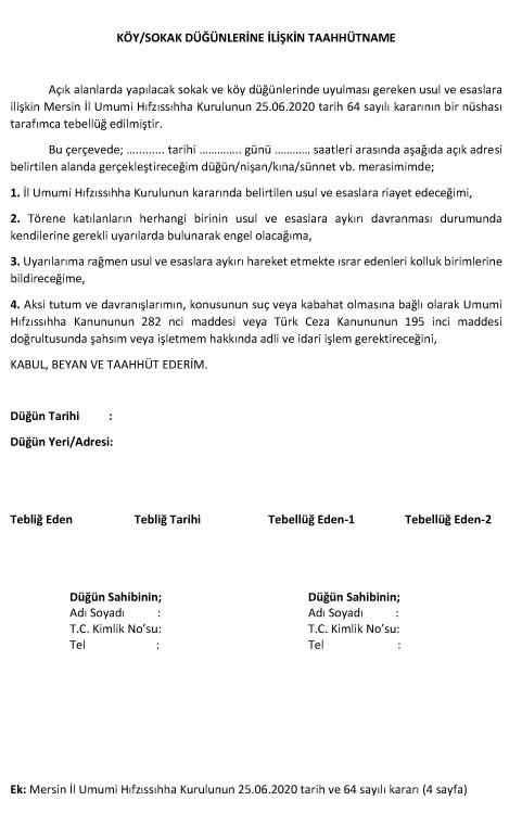 Köy / Sokak Düğünlerine İlişkin Taahhütname! Mersin İl Umumi Hıfzıssıhha Kurulu Kararı Karar Tarihi : 25/06/2020 Karar No : 2020 / 64