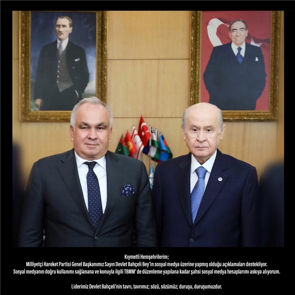 Erdemli Belediye Başkanı Mükerrem Tollu, MHP Genel Başkanı Devlet Bahçeli'nin Tavrını Destekleyip Sosyal Medya Hesaplarını Askıya Aldı