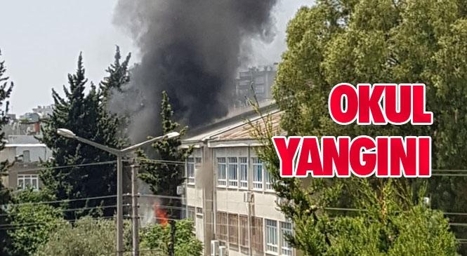 Mersin'de Okul Yangını! Atatürk Mesleki ve Teknik Anadolu Lisesinde Yangın Çıktı: 2 Öğretmen Yaralandı