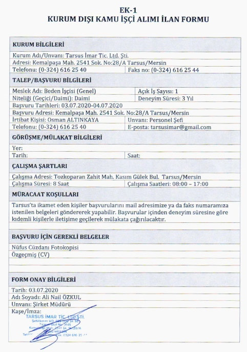 Yenişehir Belediyesi, Tarsus Belediyesi ve Tarsus Ticaret Borsası Personel Alımı Yapıyor