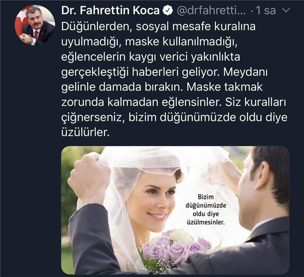 Düğünlere İlişkin Paylaşımda Bulunan Sağlık Bakanı Fahrettin Koca ''Bizim Düğünümüzde Oldu Diye Üzülürler''