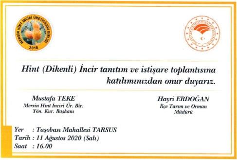 Mersin Tarsus'ta Hint (Dikenli) İncir Tanıtım Toplantısı Yapılacak