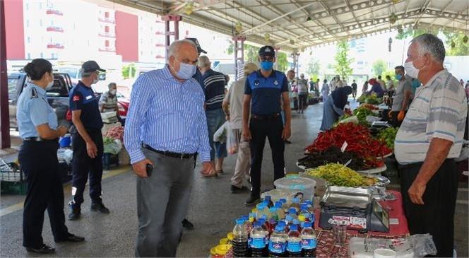 """Erdemli Belediyesi'nin Üretici İçin Oluşturduğu, """"Üretici Pazarı'nda"""" Pandemi Tedbirlerine Tam Uyuldu"""