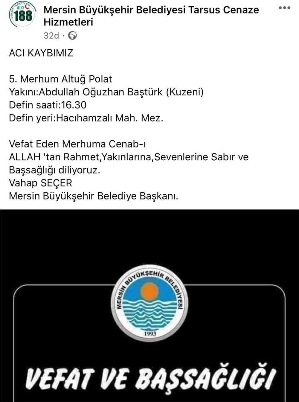 Adana'da, Hatay Vali Yardımcısı Tolga P'nin Öldürdüğü Avukat Erkek Kardeşi Altuğ P. İle Annesi İkbal P'nin Cenazesi, Mersin'in Tarsus İlçesinde Toprağa Verildi