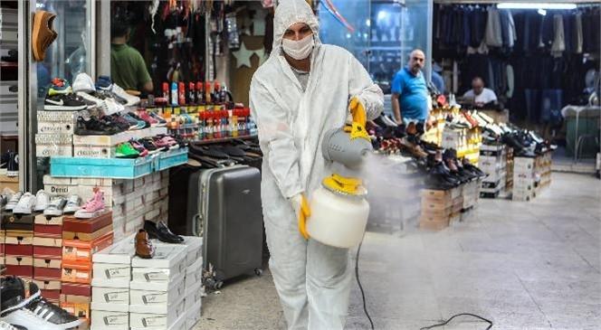 Tarihi Zafer Çarşısı'nda Dükkanlar Dezenfekte Edildi