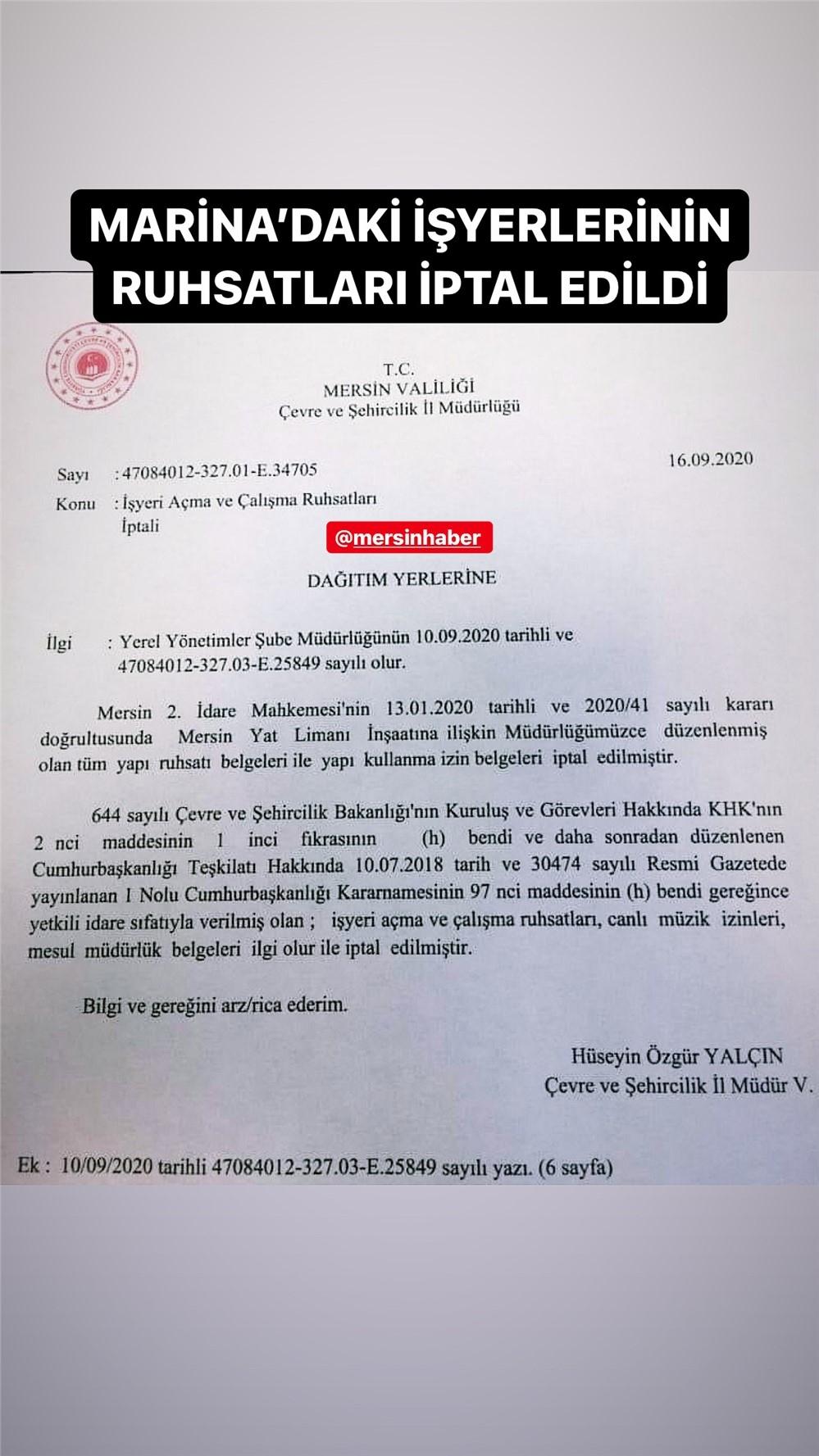 Mahkemeden Mersin Marina Kararı! Marinadaki İş Yerlerinin Ruhsatları İptal Edildi