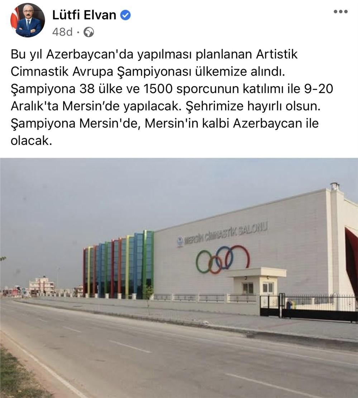 Artistik Cimnastik Avrupa Şampiyonası Mersin'de Yapılacak
