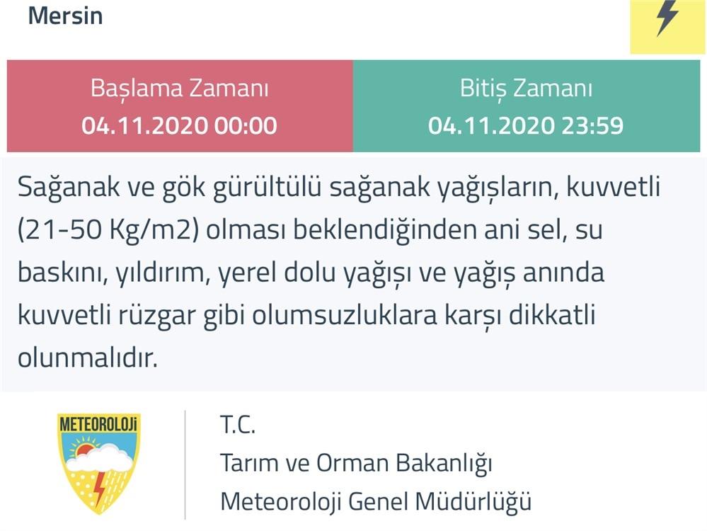 Meteoroloji Genel Müdürlüğünden Doğu Akdeniz'e Sağanak Yağış Uyarısı ''Doğu Akdeniz'de Beklenen Kuvvetli Gök Gürültülü Sağanak Yağışlara Dikkat''