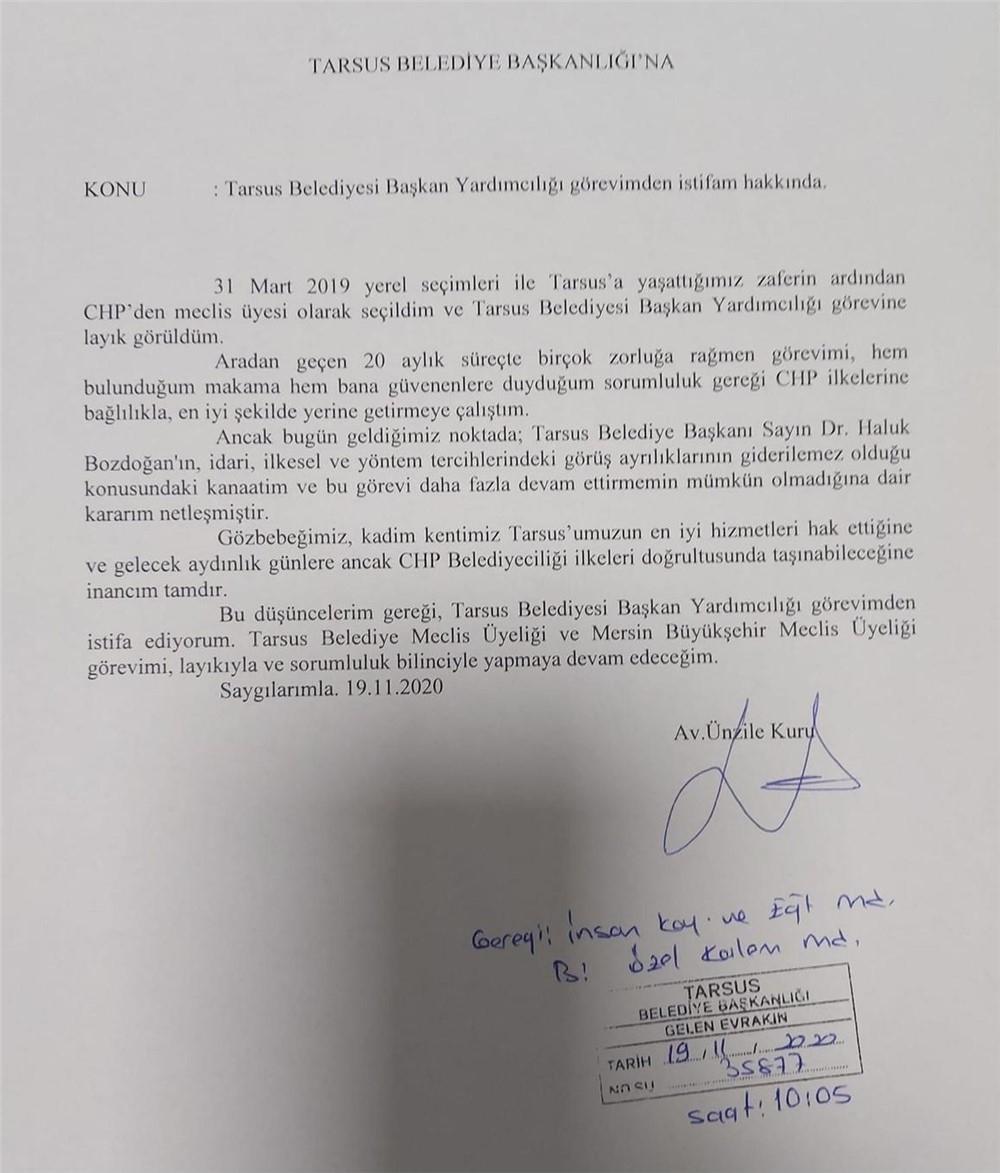 Tarsus Belediye Başkan Yardımcısı Ünzile Kuru, Başkan Yardımcılığı Görevinden İstifa Etti