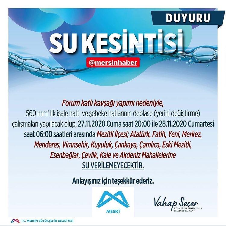 Dikkat Mersin'de Su Kesintisi Yapılacak! MESKİ'den Su Kesintisi Duyurusu