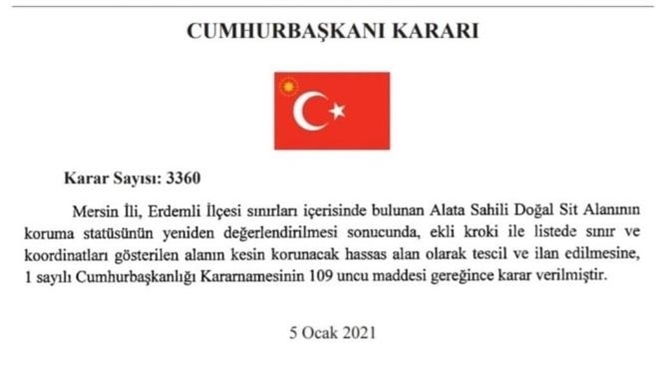 Cumhurbaşkanı Kararları Resmi Gazete'de Yayımlandı: Mersin Erdemli ve Bazı Bölgeler Sit Alanı İlan Edildi