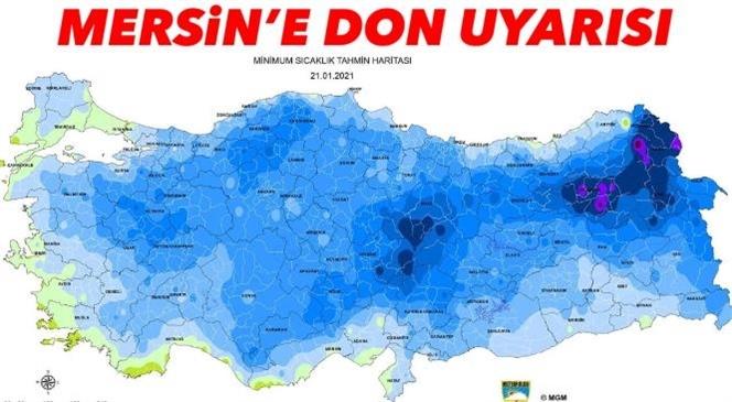 Mersin'e Don Uyarısı; Sıcaklıklar 0 Derecenin Altına Düşecek