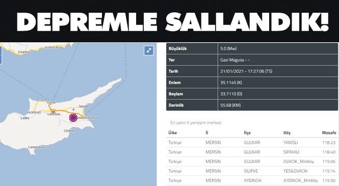 Mersin'de Hissedilen Deprem! KKTC'deki Deprem Mersin ve Akdeniz'deki Diğer Şehirlerde Hissedildi! Son Depremler