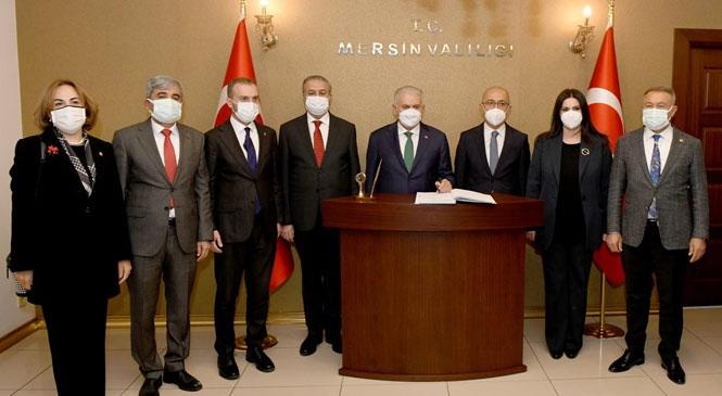 Yıldırım ve Elvan Mersin'de Türkiye Cumhuriyeti Son Başbakanı Binali Yıldırım İle Hazine ve Maliye Bakanı Lütfi Elvan Vali Su'yu Ziyaret Etti