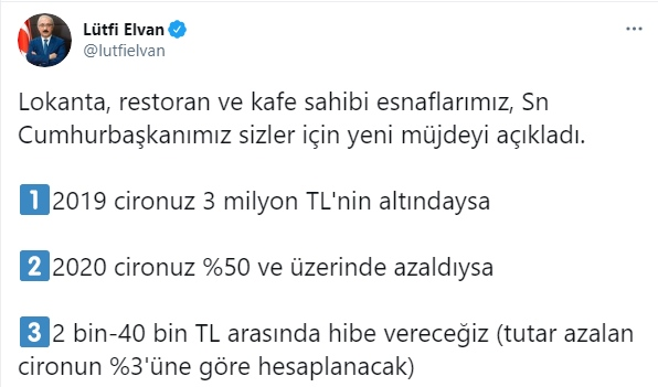 Bakan Elvan Kafe ve Restoranlara Ne Kadar Hibe Ödemesi Yapılacağına Dair Açıklama Yaptı