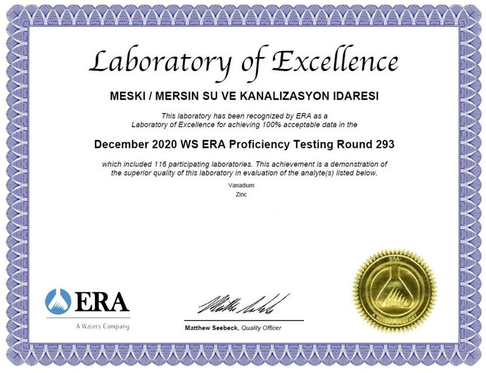 Merkez Su Analiz Laboratuvarı ''Mükemmel Laboratuvar Sertifikası''nı Aldı