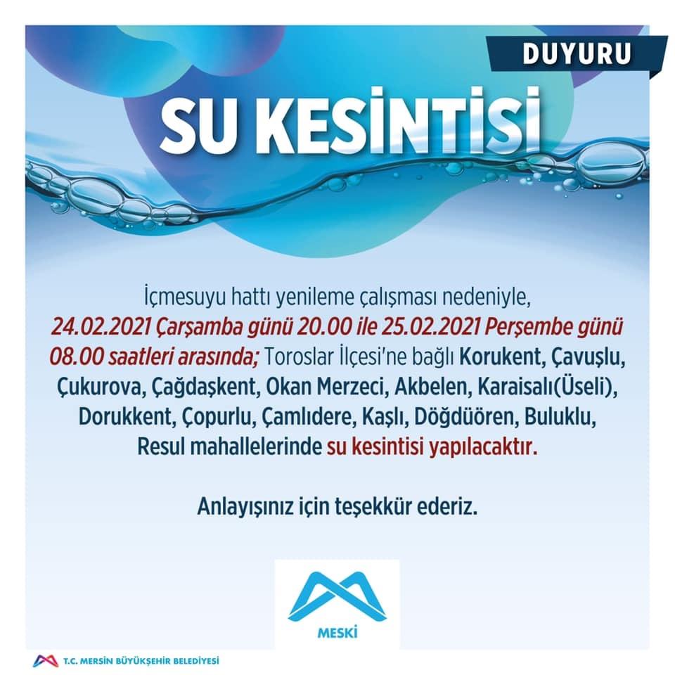 Mersin'de 12 Saat Sürecek Su Kesintisi Başladı