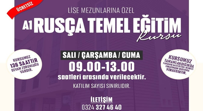 Mersin Yenişehir'de Bitirme Sertifikalı Ücretsiz Rusça Dil Eğitimi