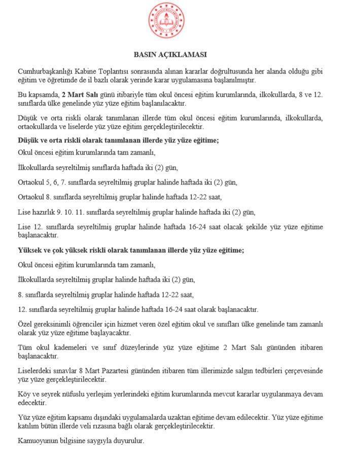 Mersin'de Okullar Yüz Yüze Eğitime Geçecek Mi?