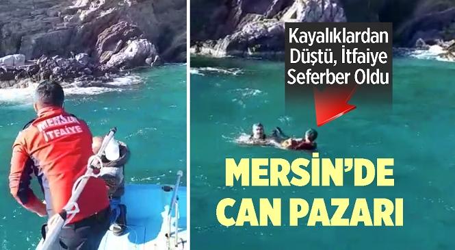 Mersin'in Aydıncık İlçesinde Kayalıklardan Denize Düşen M.Ş. İsimli Kişiyi İtfaiye Ekipleri Kurtardı
