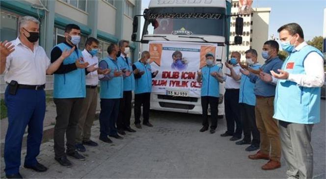 Tarsus Müftülüğü İş Birliğiyle Hazırlanan Un Yüklü 1 TIR İdlib'e Uğurlandı