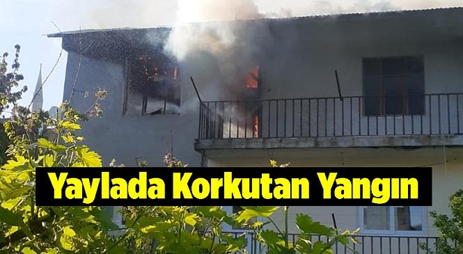 Toroslar İlçesi Güzelyayla Mahallesinde Bir Evde Çıkan Yangın Uzun Uğraşlar Sonrası Söndürüldü