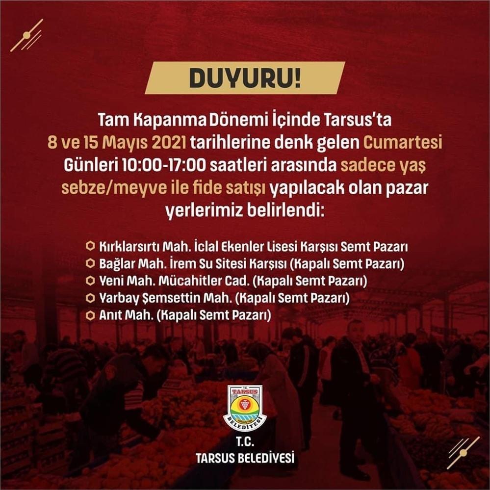 Mersin'de 8 Mayıs Cumartesi Günü Açılacak Olan Pazar Yerleri ve Adresleri