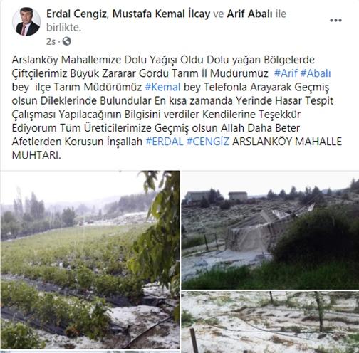 Mersin'in Toroslar İlçesine Bağlı Arslanköy Mahallesi ve Civarında Dolu Yağışı Etkili Oldu